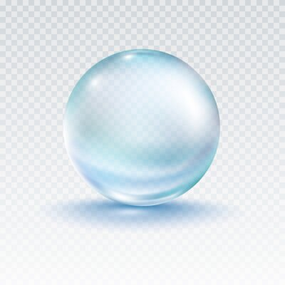 Collagen droplet isolated on transparent background. Realistic vector clear dew, blue pure drop, water bubble or glass ball template