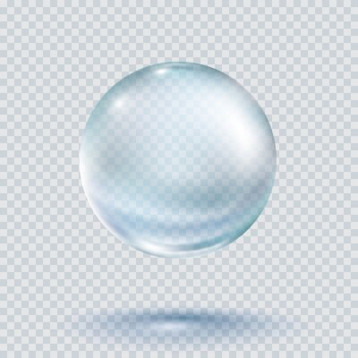 Collagen droplet isolated on white background. Realistic vector clear dew, blue pure drop, water bubble or glass ball template