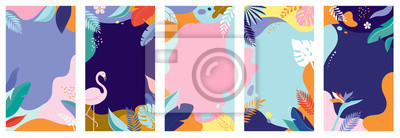 Naklejka Collection of abstract background designs - summer sale, social media promotional content. Vector illustration