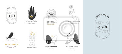 Naklejka Collection of fine, hand drawn style logos and icons of hands. Esoteric, fashion, skin care and wedding concept illustrations. Vecor design