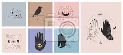 Naklejka Collection of fine, hand drawn style logos and icons of hands. Fashion, skin care and wedding concept illustrations.