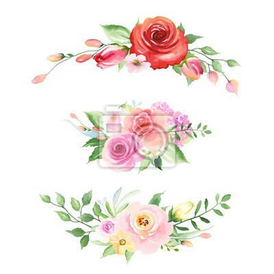 Collection of floral decors with roses, buds, leaves and abstract small flowers. Vector illustration in vintage watercolor style on white background.