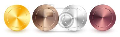 Naklejka Collection of gold, rose gold, silver, chrome, bronze radial metallic gradient. Brilliant plates with gold, silver, chrome, bronze metallic effect. Vector illustration