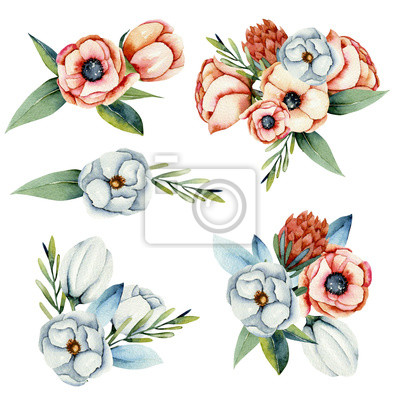 Collection of isolated watercolor bouquets of white and coral anemone and protea flowers, hand painted illustration on a white background