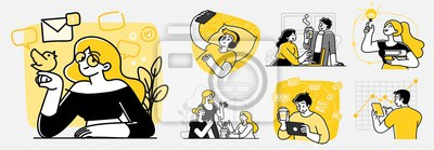 Naklejka Collection of scenes at office. Bundle of men and women taking part in business meeting, negotiation, brainstorming, talking to each other. Outline vector illustration in cartoon style.