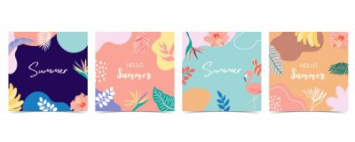 Naklejka Collection of summer background set with palm,coconut tree,sea,beach.Editable vector illustration for invitation,postcard and website banner.Hello summer