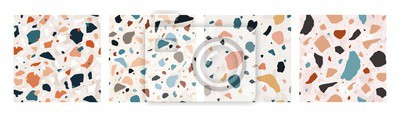 Naklejka Collection of Terrazzo seamless patterns with colorful rock fragments. Set of backdrops with stone pieces or sprinkles. Bundle of rock textures. Vector illustration for wrapping paper, textile print.
