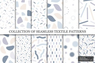 Naklejka Collection of vector seamless colorful patterns. Trendy delicate textile design. Simple unusual prints. You can find repeatable backgrounds in swatches panel