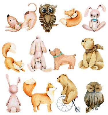 Naklejka Collection of watercolor cute animals (rabbits, foxes, owls, bears and dogs), hand drawn isolated on a white background