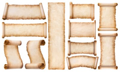 Naklejka collection set old parchment paper scroll sheet vintage aged or texture isolated on white background