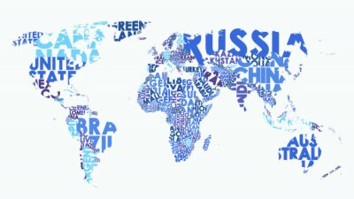 Naklejka Color political map of the world consisting of country names, text composition detailed vector illustration