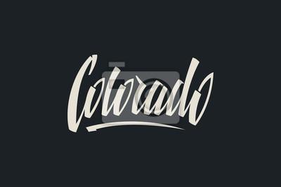 Colorado USA Państwo Słowo Logo Ręcznie malowane Szczotka Szablon Logo Kaligrafii