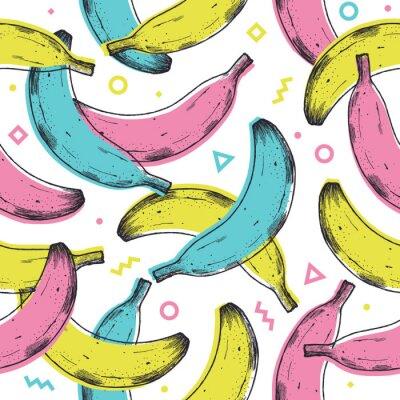Naklejka Colored fun banana seamless pattern. 90s style background. Vector illustration