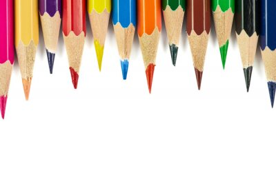 Colored pencils background. Color pencils on white background. Isolated