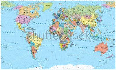 Naklejka Colored World Map - borders, countries, roads and cities. Detailed World Map vector illustration.