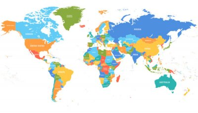 Naklejka Colored world map. Political maps, colourful world countries and country names. Geography politics map, world land atlas or planet cartography vector illustration
