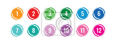Naklejka colorful 1-12 numbers. numbers in circle. colored buttons and numbers