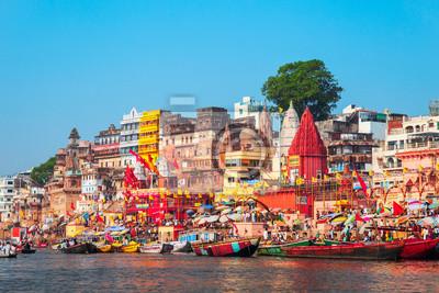 Naklejka Colorful boats and Ganges river