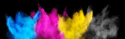 Naklejka colorful CMYK cyan magenta yellow key holi paint color powder explosion isolated dark black background. printing print business industry manufacturing  beautiful party festival concept