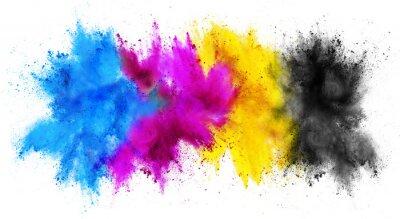 Naklejka colorful CMYK cyan magenta yellow key holi paint color powder explosion print concept isolated white background