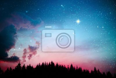 Naklejka Colorful dramatic sky with stars .