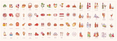 Colorful food, drinks and beverages icon set isolated on background