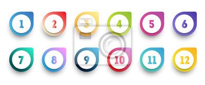 Naklejka Colorful gradient arrow bullet point set with number from 1 to 12.