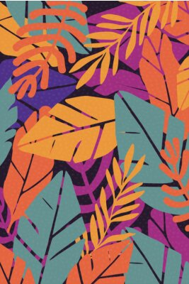 Naklejka Colorful leaves seamless pattern background vector illustration. Exotic plants, branches and leaves art print for beauty, fashion and natural products, spa and wellness, wedding and events poster