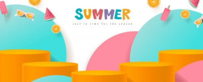 Naklejka Colorful Summer sale banner with product display cylindrical shape