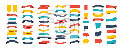 Naklejka Colorful Vector Ribbon Banners. Set of Ribbons Banners with Label, Tag and Quality Badges. Banners set and colorful Ribbon, isolated on white background. Ribbon Banner in modern simple flat design