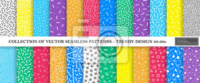 Naklejka Colorful vibrant vector collection of memphis seamless patterns. Fashion design 80-90s. Bright stylish textures.