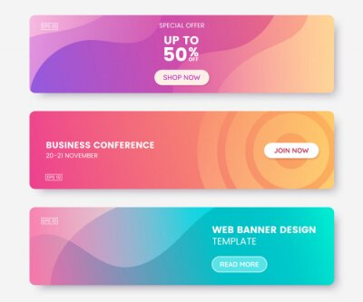 Naklejka Colorful web banner with push button. Collection of horizontal promotion banners with pastel gradient colors and abstract geometric backdrop.Header design. Vibrant coupon template. Vector eps 10