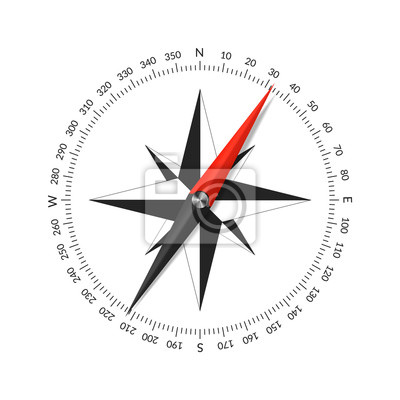 Naklejka Compass face with wind rose and dial.