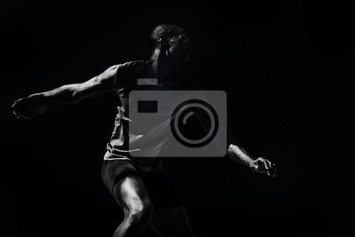 Naklejka Composite obraz lekkoatleta człowiek rzucanie dyskiem