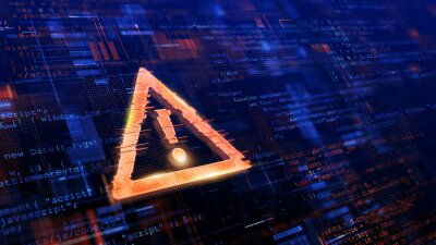 Naklejka Computer Hacked, System Error, Virus, Cyber attack, Malware Concept. Danger Symbol. 3d rendering.