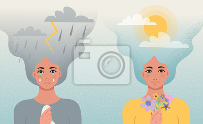 Naklejka Concept good and bad mood. One girl cries with clouds, lightning, rain in her hair and a handkerchief  in her hands, another girl smiles with clouds and sun in her hair and flowers in hand.Vector