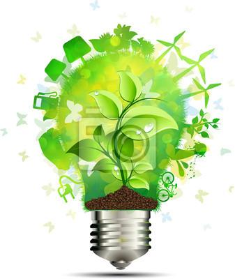 Naklejka Concetto lampadina risparmio energetico