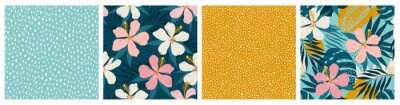 Naklejka Contemporary floral and polka dot shapes collage seamless pattern set. Modern exotic design for paper, cover, fabric, interior decor and other users.