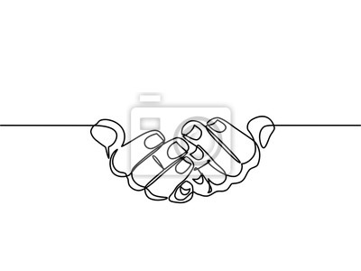 Naklejka continuous line drawing of prayer hand. Hands palms together. Vector illustrations. - Vector