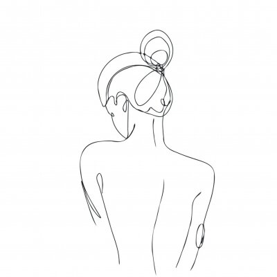 Continuous line drawing. Woman body. Vector Illustration for spa, tshirt, nails, poster