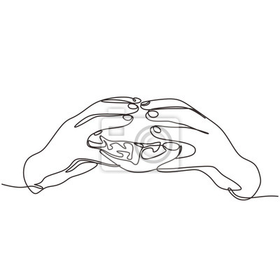 Continuous one line drawing hand holding burger fast food vector illustration. Unhealthy for eating.