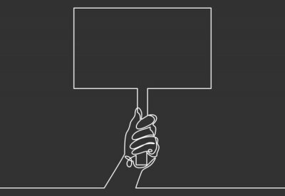 Continuous one line drawing hand holding signboard. illustration concept