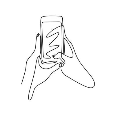 Continuous one line drawing hand holding smartphone or mobile phone. Concept of technology gadget vector minimalism illustration.