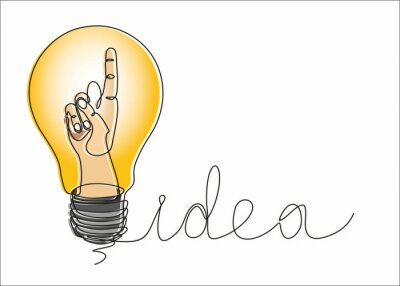 Continuous one line drawing hand in  bulb. Big Idea, vector illustration minimalism concept of idea and creativity.