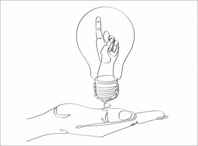 Continuous one line drawing hand pointing a bulb lamp vector illustration minimalism concept of idea and creativity