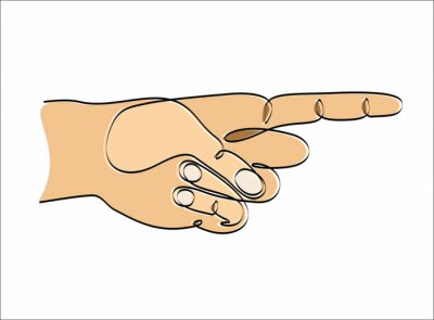 Continuous one line drawing Hand pointing, vector illustration design. Hands collection.