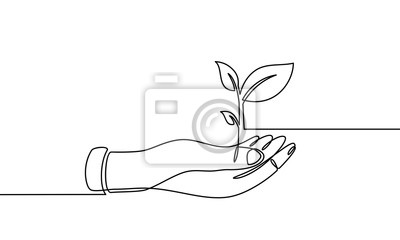 Continuous one line drawing. hand showing growing plant. Black and white background vector illustration. - Vector