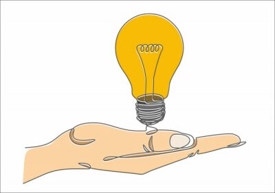 Continuous one line drawing hand with  light bulb symbol idea. BIG IDEA