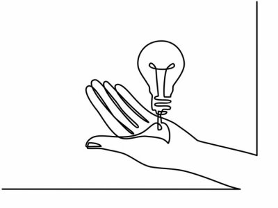 Continuous one line drawing. Hands palms together with light bulb. Black and white background vector illustration. - Vector