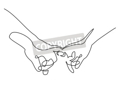 Continuous one line drawing. Hands woman and man holding together with little fingers. Vector illustration.